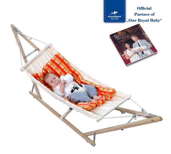 Royal-Set: Babyhängematte Koala inkl. Holzgestell & Inlay Sunny (TÜV-geprüft)